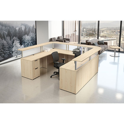 borders collection double pedestal reception U shaped desk in maple finish