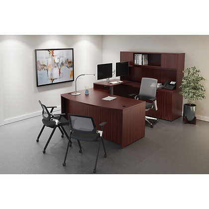 os laminate collection executive u shaped desk with hutch with adjustable height bridge in mahogany finish typical os152