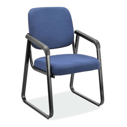 value collection sled base guest chairs in navy fabric