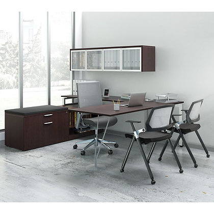 variant collection executive U shaped desk with wall mounted storage hutch laminate in espresso finish