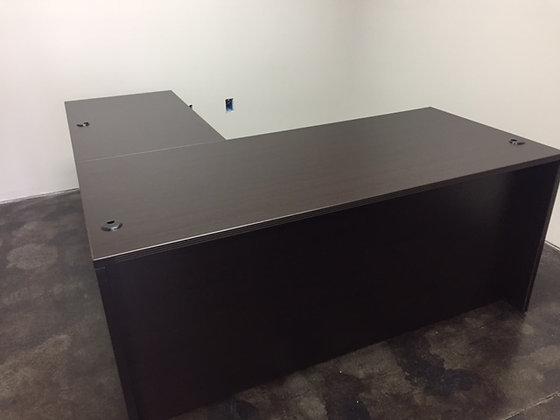 5.5' x 6' cherryman amber series laminate full pedestals L shaped desk in dark espresso finish