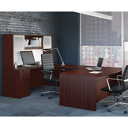 os laminate collection executive u shaped desk with hutch in mahogany finish typical os88