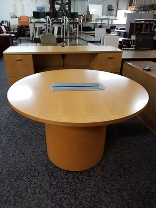 """steelcase wood 48"""" diameter meeting round table in maple finish with matching drum base with wire grommet"""