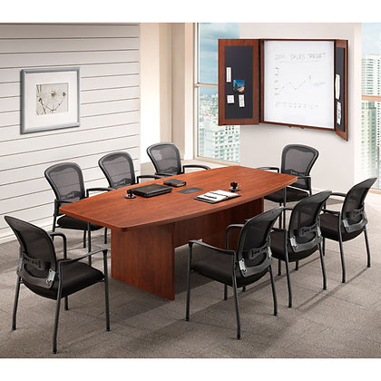 office source laminate 8' boat shaped conference table with wire grommet