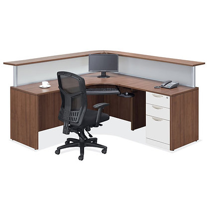 new reception L shaped desk with combination finish typical os36