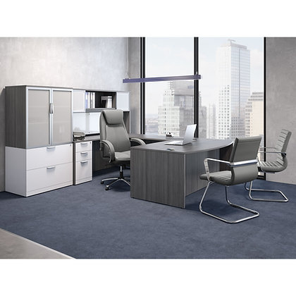 os laminate collection executive u shaped desks with hutch and side cabinets 2 tone combination typical os21