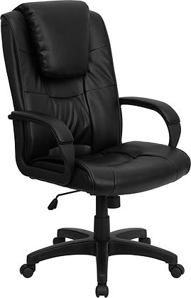high back black leather chairs with head rest