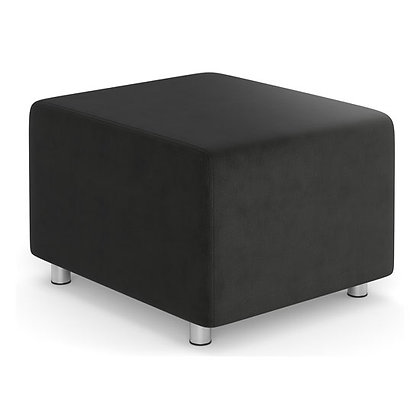 integrate collection square ottoman backless seat with silver post legs in charcoal finish