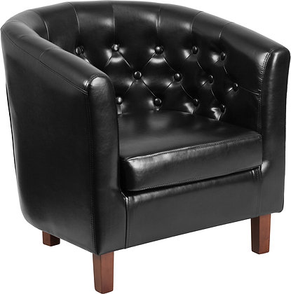black leather tufted back club chair with wood legs