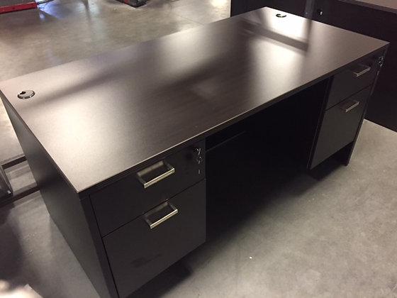 """30"""" x 60"""" cherryman amber series double pedestal desk in dark espresso finish"""