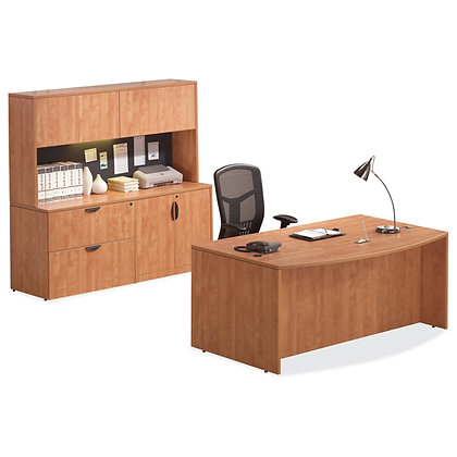 executive desk and credenza set with hutch laminate in Honey finish