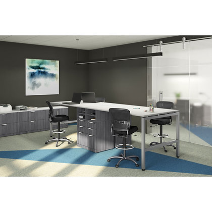 set of 4 counter height straight work desks with side cabinets