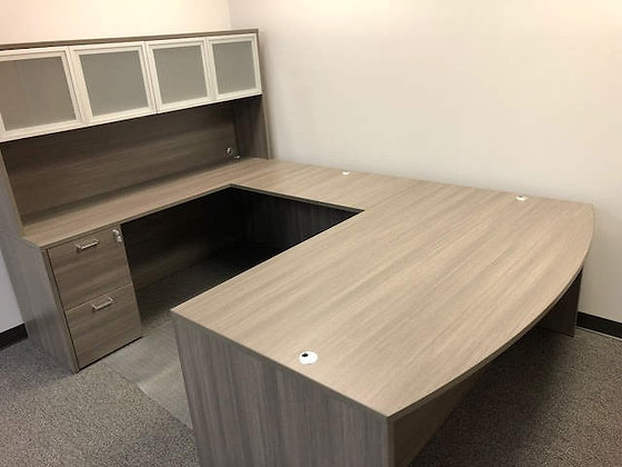 6' x 9' x 6' cherryman amber series laminate executive U shaped desk with hutch in gray finish