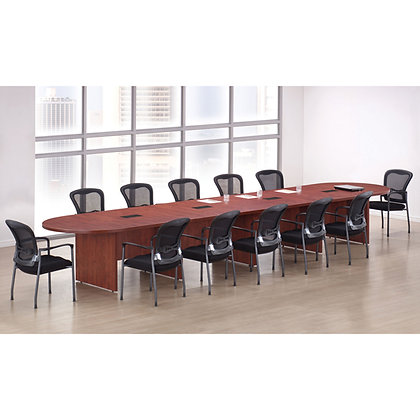 office source 20' reacetrack shaped expandable conference table laminate with wire grommets