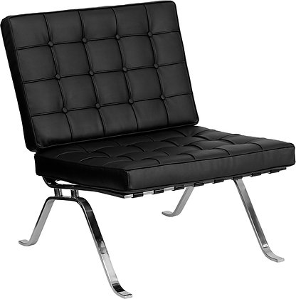 hercules flash series mid century modern style black leather lounge chair with chrome frame