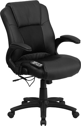 mid back ergonomic messaging black leather executive chairs
