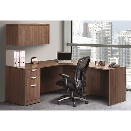 os laminate collection single pedestal corner l shaped desk with overhead storage unit in walnut finish typical os31