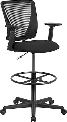 ergonomic mid back drafting stools with arms and foot rest
