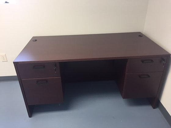 "30"" x 60"" cherryman amber series laminate double pedestal desk in mahogany finish"