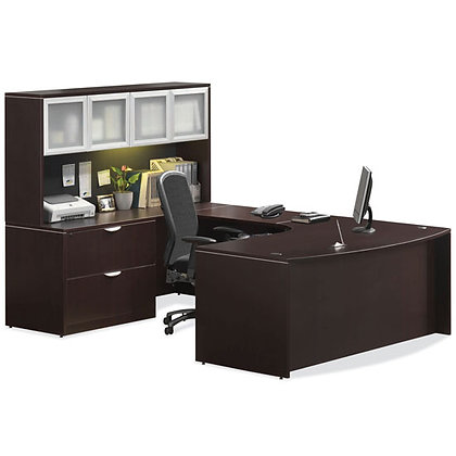 os laminate collection executive u shaped desk with hutch left side in espresso finish typical os9