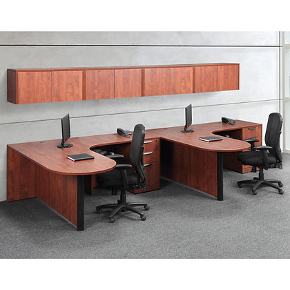 os laminate collection set up of 2 l shaped desk with storage hutch in cherry finish typical os44