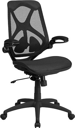 high back transparent mesh chair with flip up arms and lumbar support