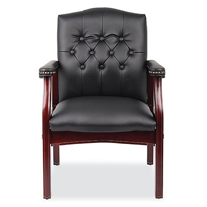 lancaster collection traditional guest chairs with tufted back available in black and burgundy with mahogany frame