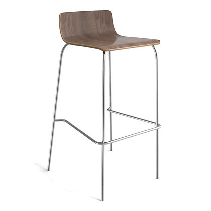 low back wood stools with foot rest in walnut finish