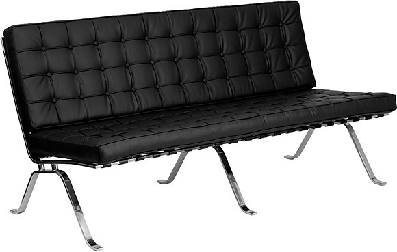 hercules flash series mid century modern style black leather sofa with chrome frame