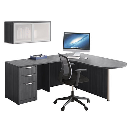 os laminate collection bullet l shaped desk with wall mounted overhead storage unit typical os149