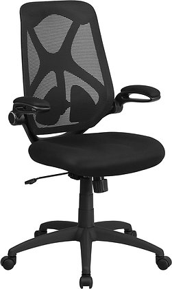 high back black ergonomic chairs with flip up arms and lumbar support