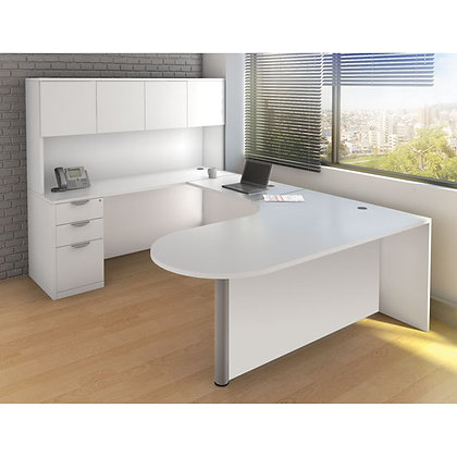 executive U shaped desk with hutch left side laminate in white finish