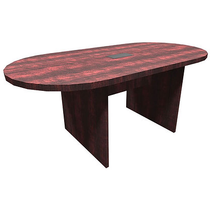 office source 6' laminate racetrack shaped conference table with wire grommet