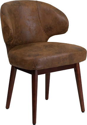 side reception saddle guest chairs with wood legs