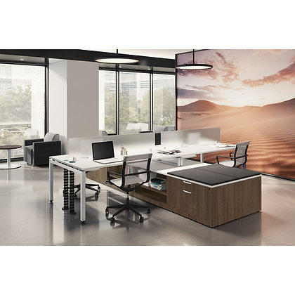 variant collection set of 4ea. open l shaped desk with storage and privacy screens