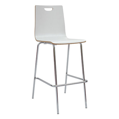 wood stools with foot rest in white finish