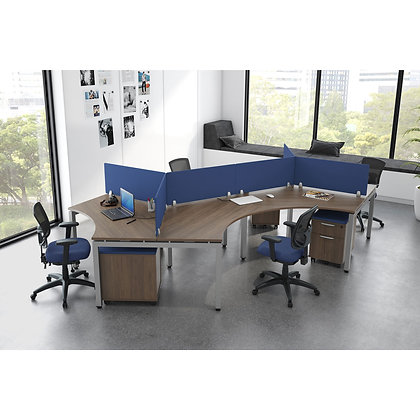 variant collection set of 4ea. open area curved desks with privacy screens