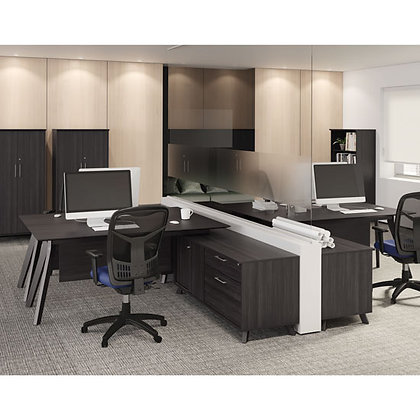 sienna collection mid century modern L shaped desks with storage cabinets and 1 bookcase in gray finish