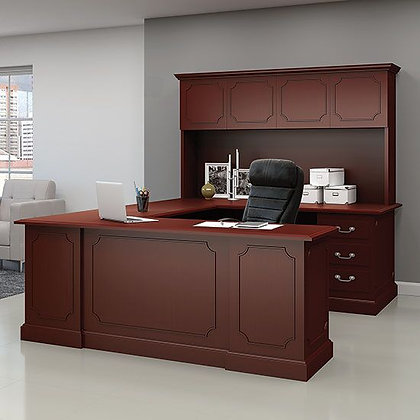 abbey collection executive U shaped desk with hutch wood veneer in mahogany finish