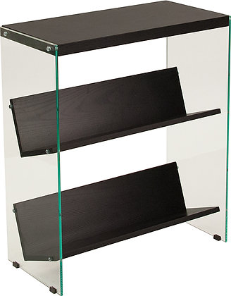 highwood 3 wood shelves with glass sides bookcase