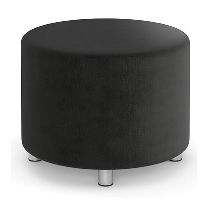 integrate collection round ottoman in charcoal finish with silver post legs