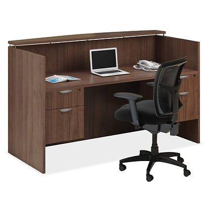 os laminate collection double pedestal reception desk in walnut finish typical OS77