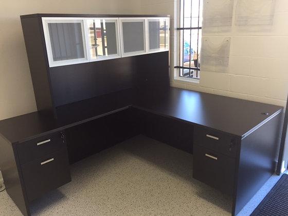 5.5' x 6.5' cherryman amber series laminate corner l shaped desk with hutch in dark espresso finish