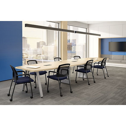Multi purpose 16' boat shaped laminate conference table with metal bases