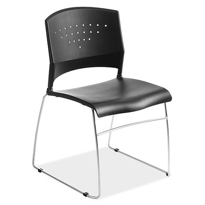 tower collection armless stack chairs black with sled base