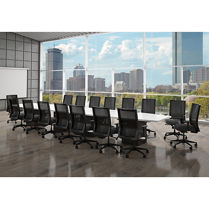 multi purpose 20' boat shaped conference table with cube and wire grommets
