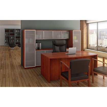 os laminate collection executive desk and storge credenza set in cherry finish typical os74