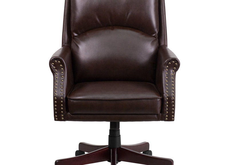 Prime High Back Pillow Back Brown Leather Executive Swivel Office Chair With Arms Creativecarmelina Interior Chair Design Creativecarmelinacom