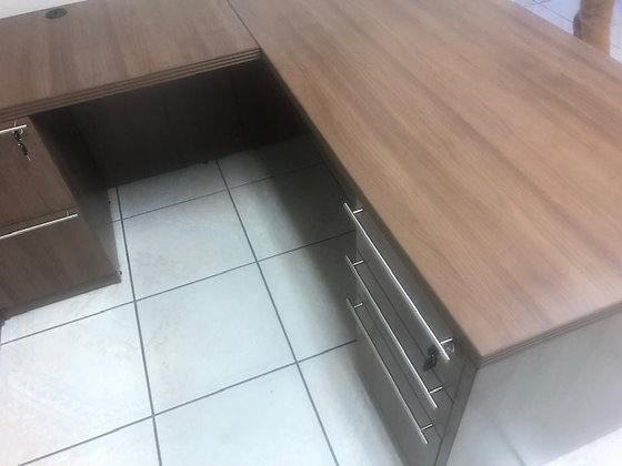 Double pedestal L shaped desk