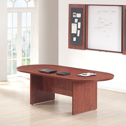 office source 8' laminate conference table racetrack shaped with wire grommets